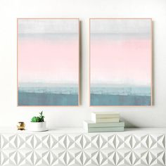 A set of two, calming abstract prints with pastel pink and teal tones. Perfect for your relaxing home.  You can download and print these files instantly giving you the flexibility to print at a variety of sizes up to 23.4 x 33.1 (A1) or 24 X 36 inches.