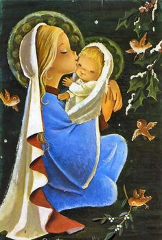 Mary and Jesus so cute Blessed Mother Mary, Blessed Virgin Mary, Queen Of Heaven, Mama Mary, Mary And Jesus, O Holy Night, Holy Mary, Theme Noel, Madonna And Child