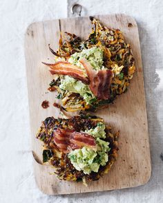 Kohlrabi adds a light, peppery flavour to Vladia Cobrdova's crunchy sweet potato röstis. Piled high with sweet maple bacon and minty mashed avocado, these make a fabulous brunch.
