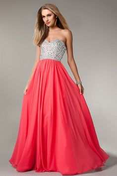 2014 Sweetheart Full Beaded Bodice Prom Dress A Line With Flowing Chiffon Skirt