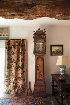 Ceiling beams, old world, grandfather clock, English decor