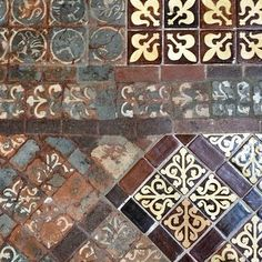 Medieval tiles at Winchester Cathedral, England.: