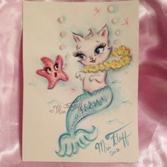 Mermaid kitty or Merkitten with a sweet starfish! Original Art by Claudette…