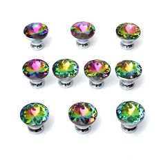 Hot Selling 10 Pcs  Multicolors Crystal Glass Clear Cabinet Knob Drawer Pull Handle Kitchen Door Wardrobe Hardware