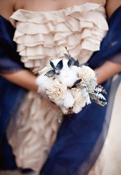 Hardin/Hillman Wedding!! Dress by RYU, Flowers by Eden's Echo in San Antonio,  Cotton Bolls, Balsa Wood Flowers, and Dusty Miller.