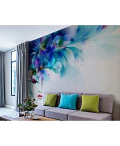 Brewster Home Fashions Beautiful Art Wall Mural Home - Wallpaper - Macy's wall Murals Indian - Beautiful Art x 118 6 Piece Wall Mural Set. Beautiful Art Wall Mural, in vivid turquoise, blue, and touches of chartreuse and purple, wakes up a plain room with Mural Wall Art, Framed Wall Art, Painted Wall Murals, Wall Murals Bedroom, Painted Walls, Bedroom Decor, Hand Painted, Textures Murales, Funky Home Decor