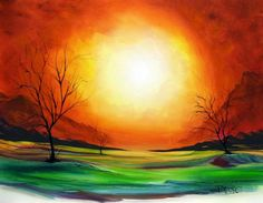 Yessy ABSTRACT ART Large Huge Modern Art Paintings Landscape canvas art Red orange yellow green Landscape - Stylehive