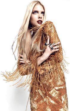 glittery gold fringe- Masha Philippova by Igor Oussenko