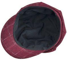 c0474805ad899 Women s Soft Classic Plaid Wool Blend Peaked Beret Cap Newsboy Flat Caps -  Wine Red -