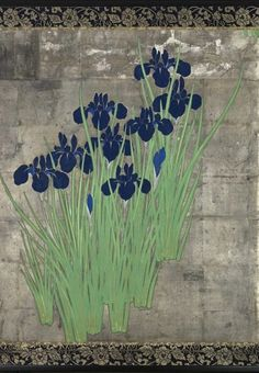 Detail. A four-fold Japanese screen painted in ink and colour on a silver ground with blue and white kakitsubata (iris). Seal: Ueda Kōho. 20th century. Taishō /Shōwa period.