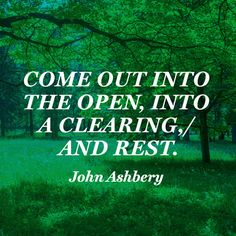 Come out into the open, into a clearing, / And rest. — John Ashbery