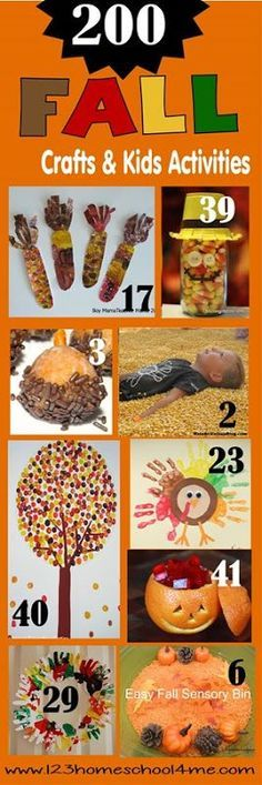 200 Fall Crafts for kids, Kids Activities, Printables, and Snack Ideas - this is my go to list with tons of creative, fun and unique ideas for toddler, preschool, kindergarten, and elementary age kids too