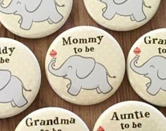 Yellow and Gray, Baby Shower Pins, Elephant Theme, Daddy to Be Button, Grandma Badge, Polka Dots, Gender Neutral, Circus Baby Shower, Grey