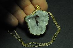 Freeform Electroformed White Agate Druzy Slice Geode Window Big Pendant with chain. 34x33x9 mm. 54.75 Cts.