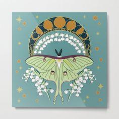 Luna Moth Art Nouveau Metal Art Print by Victoria Turcotte - Large