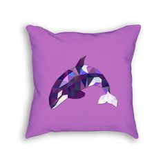 An orca whale designed out of polygons. Our throw pillows are 100% made--cut, sewn, and printed--in California. PILLOW DETAILS *18x18 inches *80% polyester / 20% cotton fleece *Soft & durable *Individ