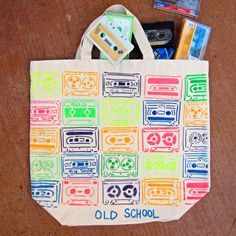 "morena's corner: ""Old School"" Neon Tote Bag DIY with Tulip Fabric Paint"