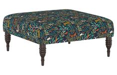 This perfectly proportioned cocktail ottoman is upholstered in a colorful print with ample padding and beautifully turned pine legs. Endlessly versatile, it can be used footstool, seat, or coffee table when topped with a tray. Handcrafted in the USA Upholstered Ottoman Coffee Table, Round Storage Ottoman, Tufted Storage Ottoman, Fabric Ottoman, Living Furniture, Home Decor Furniture, Accent Furniture, Gypsy Home Decor, Living Room Stools