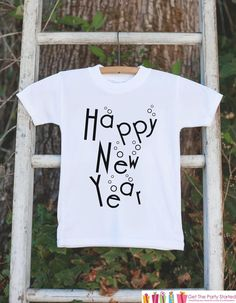 Kids New Year Outfit - Happy New Year - Boy or Girl's New Years Eve Onepiece or T-shirt - Happy New Years - Baby, Toddler, Youth - Bubbles