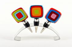 Helen Rudy Glass Carnival wine stoppers