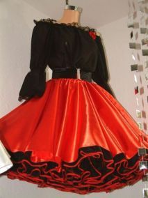 SETRINOs Satin lace Swing dancing dress Do you love to dress up and look Exotic and Gorgeous?We have to offer you the so stunning luxurious bouffant satin and lace petticoat dress ensemble! Brightly dominant as this outfit is we offer you a beautiful contrast in Black and Red together a stunningly gorgeous combination! The black lace trimmed blouse with the super shiny satin circle petticoat skirt and matching coloured organdy crisp petticoat all blend together like FASHION MAGIC. The b...