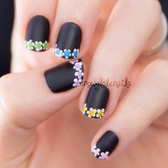 38 Floral nails and flower nail art inspirations for this summer 2015 2016 Diy Nails, Cute Nails, Pretty Nails, Manicure Ideas, French Nails, French Manicures, Nagel Hacks, Nagellack Trends, Flower Nail Art