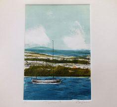 Topsham Exeter Devon Monoprint Boat Green Blue by AliSavicPRINTS Exeter Devon, Renaissance, Boat, Sculpture, Deco, Abstract, Green, Painting, Summary