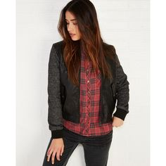 Louise Paris Ltd  Hooded Faux Leather Bomber Jacket With Fleece... ($40) ❤ liked on Polyvore featuring outerwear, jackets, black, wet seal, hooded jacket, black bomber jacket, fleece jacket, bomber jacket and vegan leather jacket