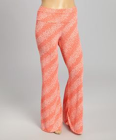 Coral & White Dot Palazzo Pants - Plus