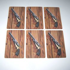 Vintage Playing Cards with Gun or Pistol on Wood Grain Background Lot of Vintage Playing Cards, All Paper, Altered Art, Wood Grain, One Pic, Ephemera, Art Projects, Guns, Objects