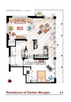 Floorplan of Dexter Morgan's apartment by TVFLOORPLANSandMORE