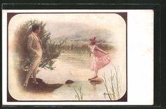 Künstler-AK Manasse: Dame steht auf einem Stein im Fluss u. schaut zu ihrem…