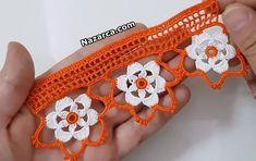 cicek-motifli-havlu-kenari-modeller-tarifler Crochet Dollies, Crochet Lace, Crochet Collar, African Fashion Dresses, Irish Crochet, Diy Flowers, Diy And Crafts, Crochet Earrings, Crochet Edgings