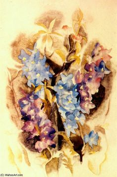 """""""delphinium (1918)"""", 1918 de Charles Demuth (1883-1935, United States) Delphinium, Charles Demuth, Reproduction, Oeuvre D'art, American Art, Watercolor, United States, Painting, Gallery"""