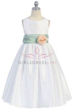 Sage Flowers and Sash Flower Girl Dress K204-SG $49.95 on www.GirlsDressLine.Com