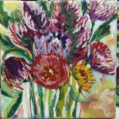 "Mini bouquet 6""x6"" mixed media on canvas $35."
