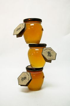 Label and packing design for a fictional honey farm.