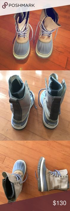 Sale! Everything must go! Sorel Women's boots! Worn once! Women's Sorel boots!! Fleece liners and waterproof blue outsole. Comfortable and cozy-- and cute!! Sorel Shoes Winter & Rain Boots