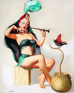 The Charmer… pin up art by Peter Darro, 1950s.