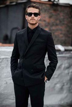 Ultralinx black men in suits, black casual outfits for men, black on black Black Suit Black Shirt, Black Suits, All Black Mens Suit, Black Shirt Outfit Men, Men In Black, Black Dress Suit Men, Fashion Mode, Look Fashion, Fashion Ideas