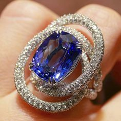Stunning Elipse ring set with a 8.83ct tanzanite and diamonds by Lassaussois Joaillier. @blissfromparis .