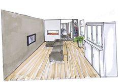 Woonkamer met gashaard als room divider