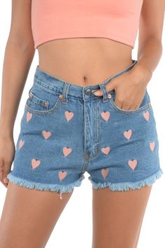 Heart Embroidered Denim Shorts