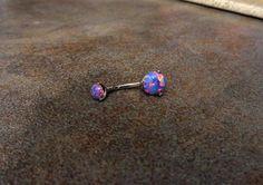 Purple Fire Opal Belly Button Ring Naval Piercing by Purityjewel