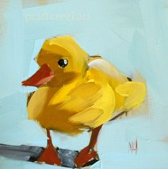 yellow duckling print from artist angela moulton 5 x 5  inches prattcreekart