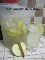 BOOST Your METABOLISM Naturally with this ZERO CALORIE Detox Drink: Day Spa Apple Cinnamon Water 0 Calories. Put down the diet sodas and crystal light and try this out for a week. You will drop weight and have TONS ON ENERGY! sounds yummy!  Makes one big pitcher, re-fill water 3-4 times before replacing apples and cinnamon-    1 Apple thinly slice (Whatever your favorite is)  1 Cinnamon Stick