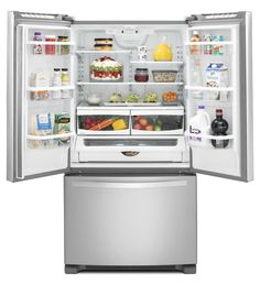 25 cu. ft. Wide French Door Refrigerator with Frameless Glass Shelves