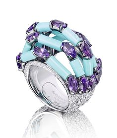 de grisogono turquoise - Google Search White gold De Grisogono ring, with 14 tiube turquoises, diamonds and 19 navette amethysts