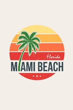 Fashion infographic : Vecteur : Miami beach Florida tee print with palm tree. T-shirt design graphics stamp label typography. Miami Beach, Miami Florida, California Logo, California Palm Trees, Beach Logo, Palm Tree Vector, Tree Logos, Typography, Lettering