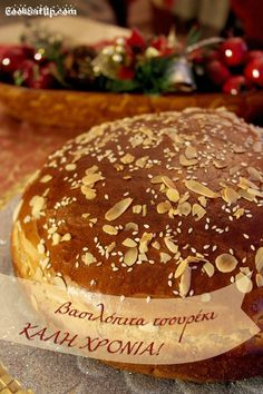 Βασιλόπιτα τσουρέκι Greek Sweets, Greek Desserts, Greek Recipes, Xmas Food, Christmas Cooking, Cyprus Food, Cake Recipes, Dessert Recipes, Gourmet